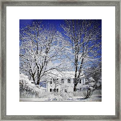 #snow #winter #house #home #trees #tree Framed Print
