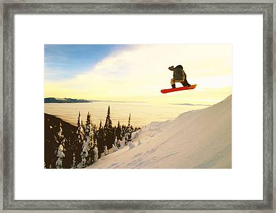 Snowboard Jumping In High Mountains Framed Print by Lanjee Chee