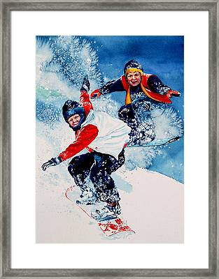 Snowboard Psyched Framed Print by Hanne Lore Koehler