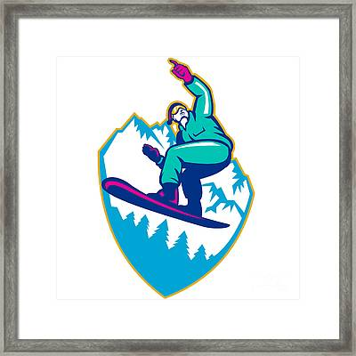 Snowboarder Holding Snowboard Alps Retro Framed Print