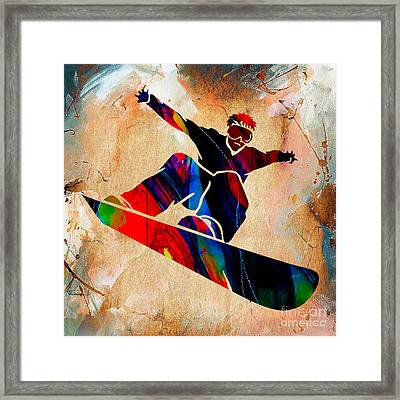 Snowboarder Painting Framed Print