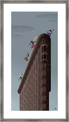 Snowboarders Fly Off The Flatiron Halfpipe Framed Print