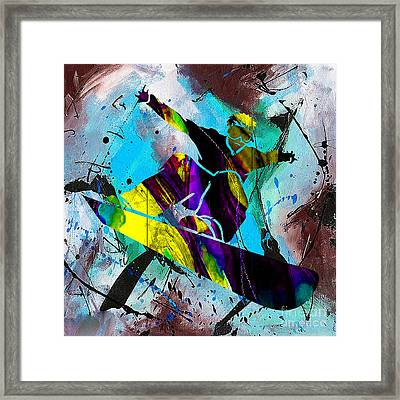 Snowboarding Downhill Framed Print by Marvin Blaine