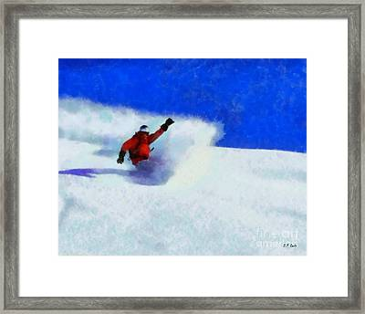 Snowboarding  Framed Print by Elizabeth Coats