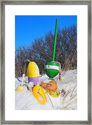 Snowbound Buoys Framed Print by Catherine Reusch Daley