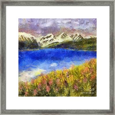 Snowcapped Blue Lake Framed Print