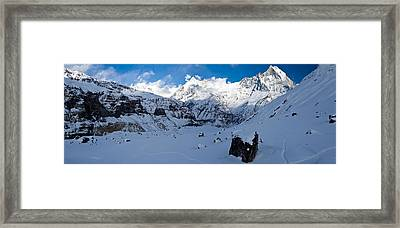 Snowcapped Mountain, Annapurna Base Framed Print by Panoramic Images