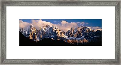Snowcapped Mountain Peaks, Dolomites Framed Print