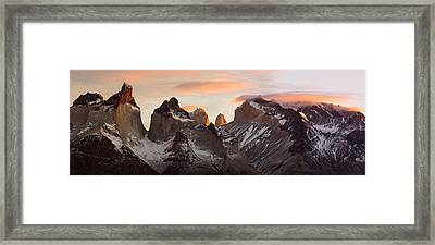 Snowcapped Mountain Range, Paine Framed Print