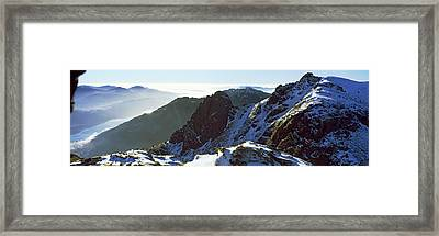 Snowcapped Mountain Range, The Cobbler Framed Print by Panoramic Images