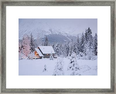 Snowcovered Home In A Wintry Meadow At Framed Print