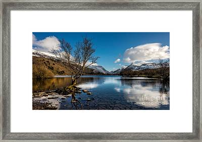 Snowdon And Padarn Lake Framed Print by Adrian Evans