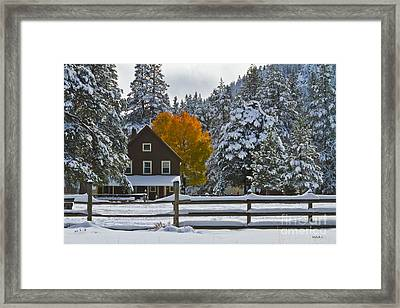 Snowed In At The Ranch Framed Print