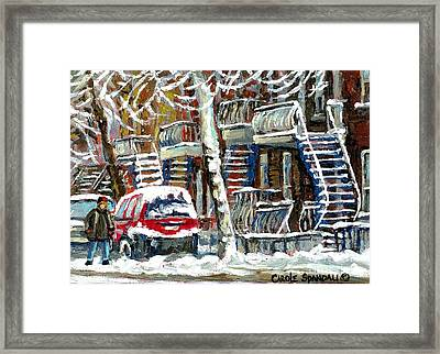 Snowed In January Trees Red Car In Verdun Winter City Scene Montreal Art Carole Spandau Framed Print