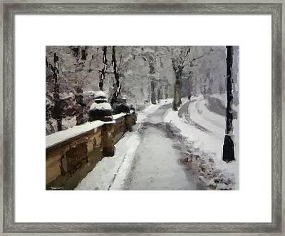 Snowfall Around Central Park Ny Framed Print by Anthony Fishburne