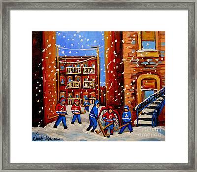 Snowfall Hockey Game Winter City Scene Framed Print by Carole Spandau