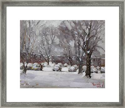Snowfall In Royal Park Apartments Framed Print