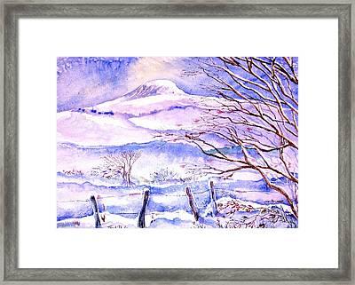 Snowfall On Eagle Hill Hacketstown Ireland  Framed Print by Trudi Doyle