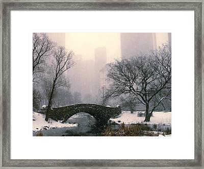 Snowfall On Gapstow Bridge Framed Print by Jessica Jenney