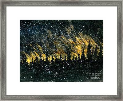 Snowfall On The Forest Framed Print by R Kyllo