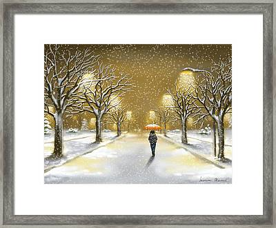 Snowfall Framed Print by Veronica Minozzi