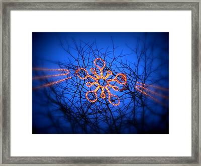 Framed Print featuring the photograph Snowflake Christmas Lights by Aurelio Zucco