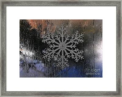 Snowflake On A Night Window Framed Print by Elaine Manley