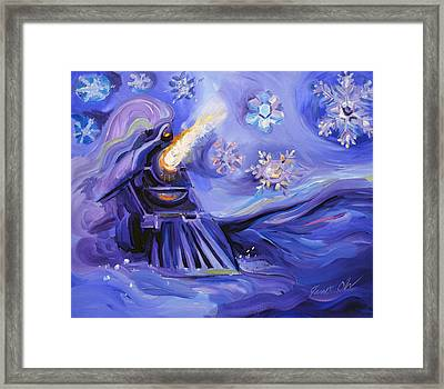 Snowflake Train Framed Print by Janet Oh