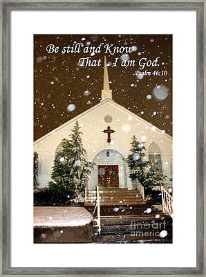 Snowing At The Chapel Framed Print by Kathy  White