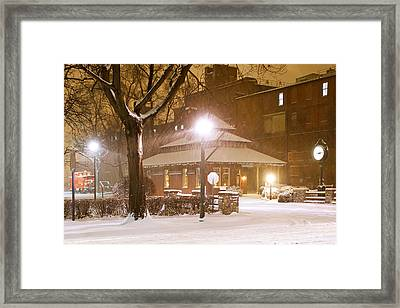 Snowing At The Old Railroad Station Framed Print by Delmas Lehman