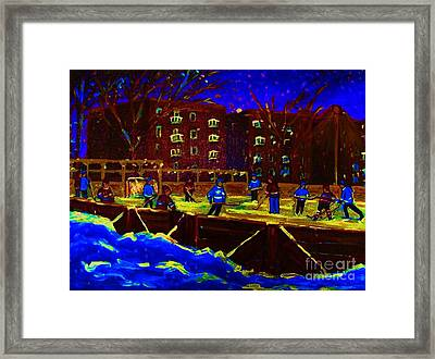 Snowing At The Rink Framed Print by Carole Spandau