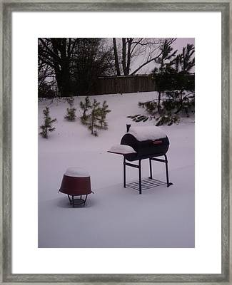 Snowing In The Atl Framed Print by Earnestine Clay