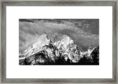 Snowing In The Tetons Framed Print by Dan Sproul