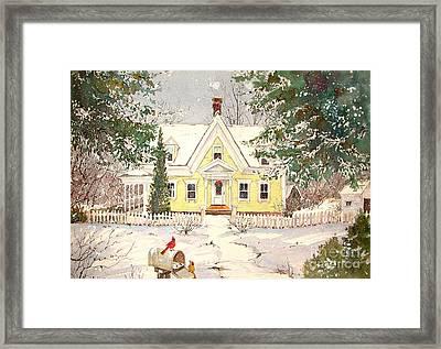 Snowing In Woodstock Framed Print by Sherri Crabtree