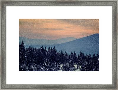Snowing Sunset Framed Print by Melanie Lankford Photography