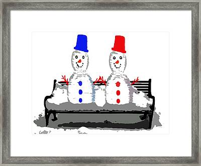 Snowman And Snowwoman Holding Hands Framed Print