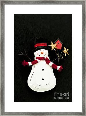 Snowman Framed Print by Anne Gilbert