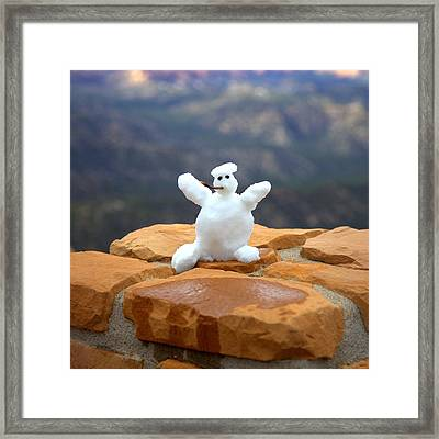 Snowman At Bryce - Square Framed Print by Gordon Elwell