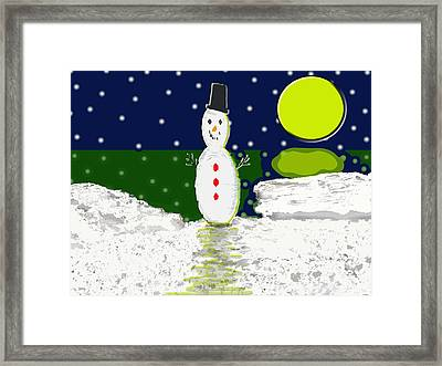 Snowman At The Beach Framed Print