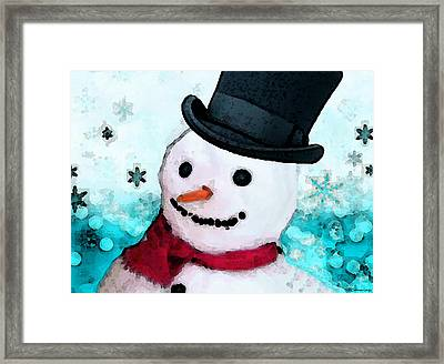 Snowman Christmas Art - Frosty Framed Print