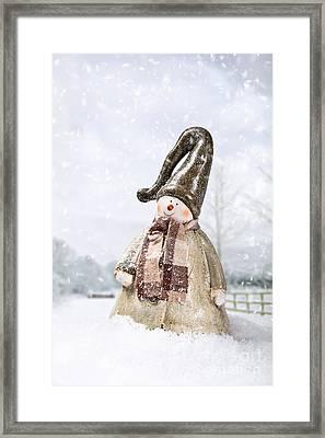 Snowman Framed Print by Amanda Elwell