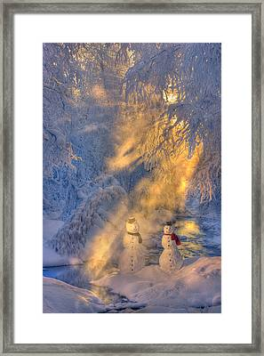 Snowman Couple Standing Next To A Framed Print by Kevin Smith