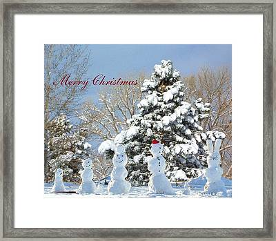 Snowman Family Greeting Card Framed Print