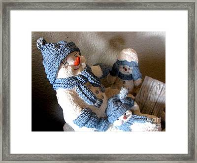 Snowman Family  Trio Framed Print