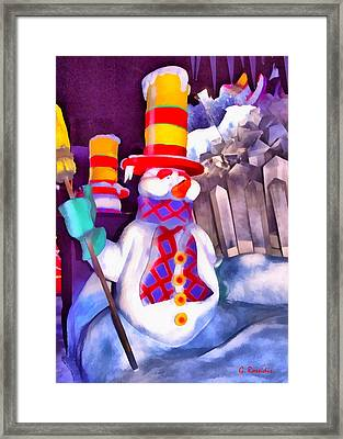 Snowman Framed Print by George Rossidis
