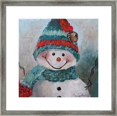 Framed Print featuring the painting Snowman IIi - Christmas Series by Cheri Wollenberg