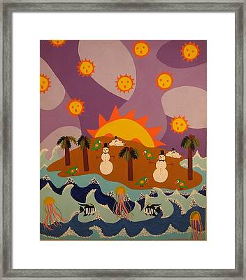 Framed Print featuring the painting Snowman Is An Island by Erika Chamberlin