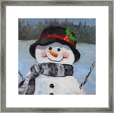 Framed Print featuring the painting Snowman Iv - Christmas Series by Cheri Wollenberg