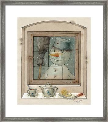 Snowman Framed Print by Kestutis Kasparavicius