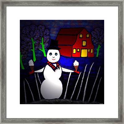 Snowman Framed Print by Latha Gokuldas Panicker